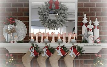 thrifty christmas mantel, christmas decorations, fireplaces mantels, painting, seasonal holiday decor