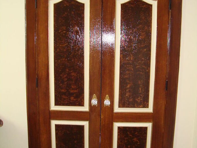 dramatic door makeover with fake wood grain stencil, doors, painting, woodworking projects, Double Doors After