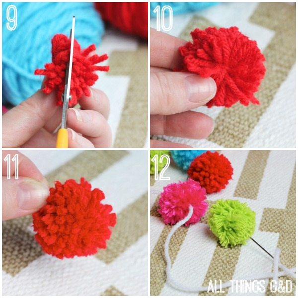 diy pom pom garland, christmas decorations, crafts, how to, repurposing upcycling, seasonal holiday decor