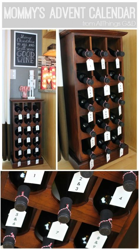 how to turn a wine rack into mommy s advent calendar, christmas decorations, crafts, kitchen design, seasonal holiday decor