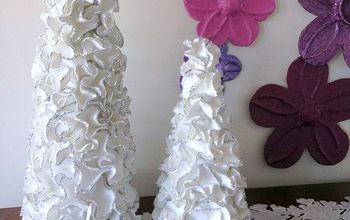 Ruffled Foam Sheets & Glitter Christmas Tree Cones DIY