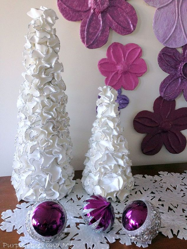 ruffled foam sheets glitter christmas tree cones diy, christmas decorations, crafts, how to, seasonal holiday decor