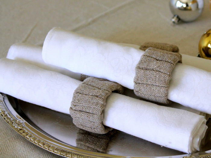 repurpose an old sweater to gold napkin rings, christmas decorations, crafts, repurposing upcycling, seasonal holiday decor