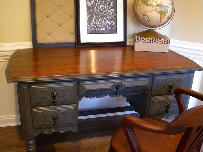 makeover of a desk and mahogany chair, chalk paint, painted furniture