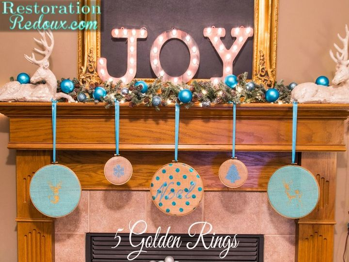 diy 5 golden rings, christmas decorations, crafts, fireplaces mantels, seasonal holiday decor