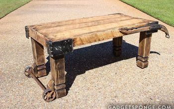 horse hame and caster barn wood coffee table, living room ideas, repurposing upcycling, woodworking projects