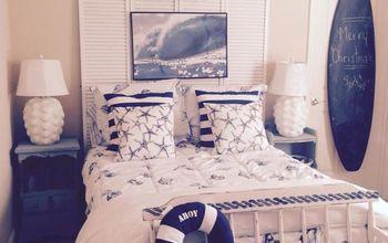 "Coastal Colors ""Sea Glass"" and ""Sea Spray"" Beach Chic Guest Room"