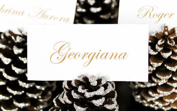 Glitter Tipped Pinecone Place Card Holders