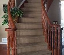 q replace stained carpet on curved staircase, cleaning tips, home improvement, stairs, reupholster, Nice focal point but not with grundgy carpet