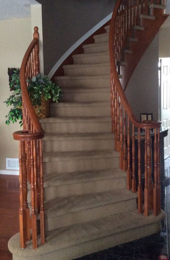 Stained Carpet On Curved Staircase Hometalk