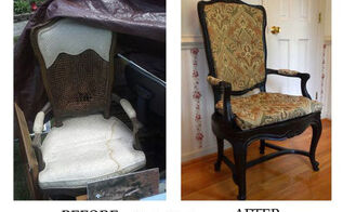 garage sale find antique chair reupholster, diy, painted furniture, repurposing upcycling, reupholster