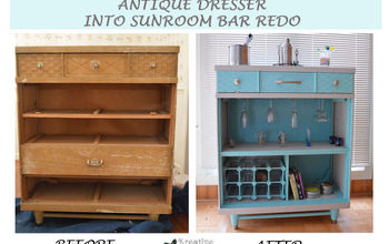 Antique Dresser Into Sunroom Bar Redesign