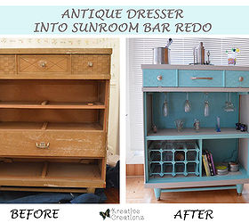 Antique Dresser Into Sunroom Bar Redesign, Painted Furniture, Repurposing  Upcycling