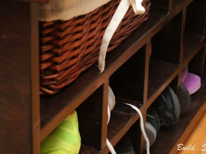repurpose a shipping crate to a foyer organizer, foyer, organizing, repurposing upcycling, storage ideas, woodworking projects