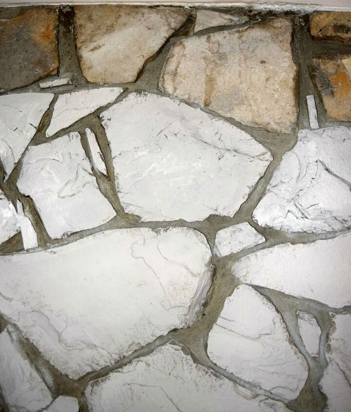 diy painted stone fireplace, chalk paint, fireplaces mantels, painting