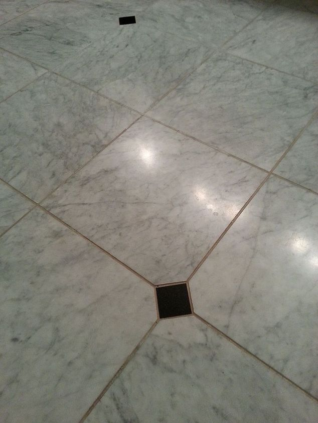 how to clean grout on honed marble floor, bathroom ideas, cleaning tips, flooring, how to, small bathroom ideas, tiling