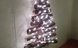 diy log or branch christmas tree, christmas decorations, crafts, diy, repurposing upcycling, seasonal holiday decor, woodworking projects