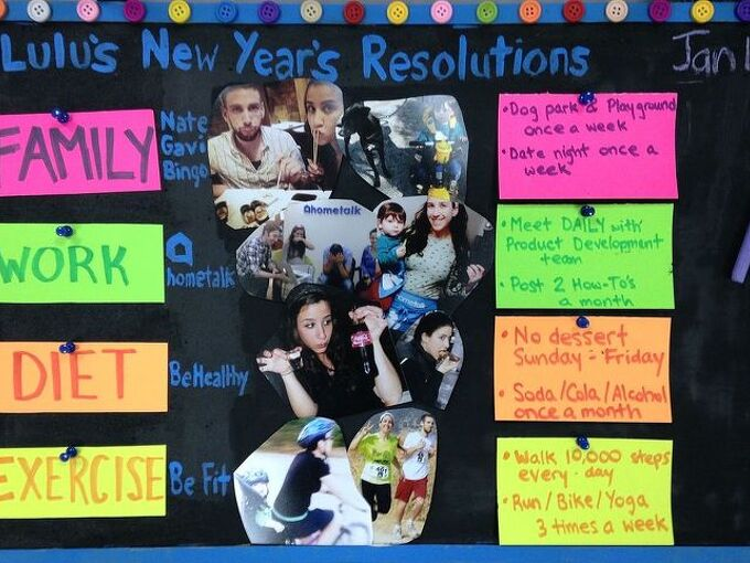 keeping a new year s resolution personal practical inspiration board, chalkboard paint, crafts, how to, organizing, wall decor