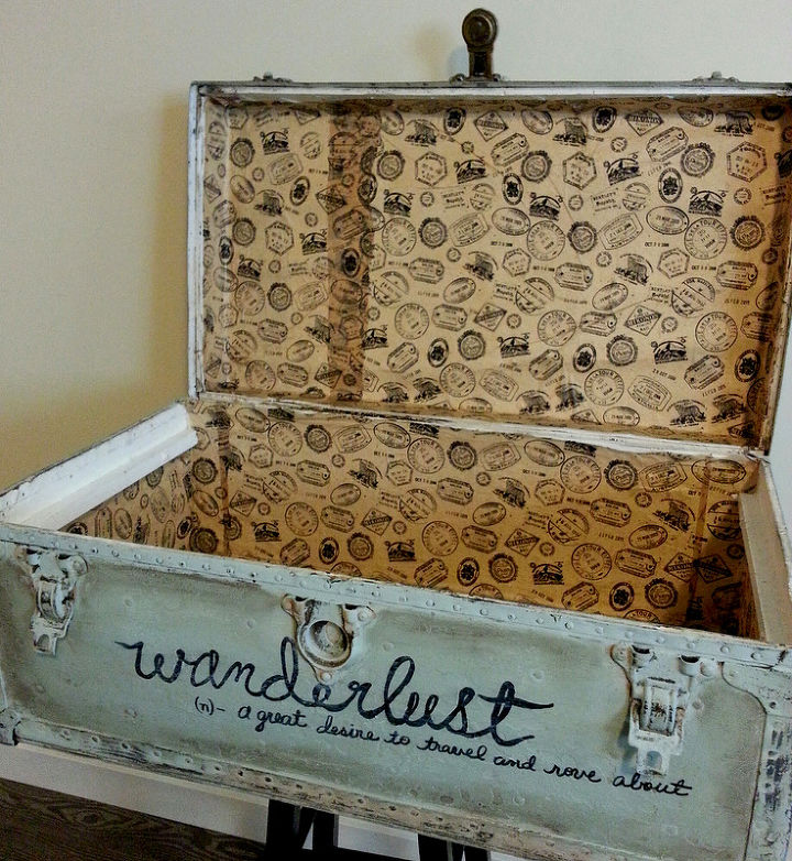 Vintage Wanderlust Trunk Makeover Home Decor Painted Furniture Repurposing Upcycling