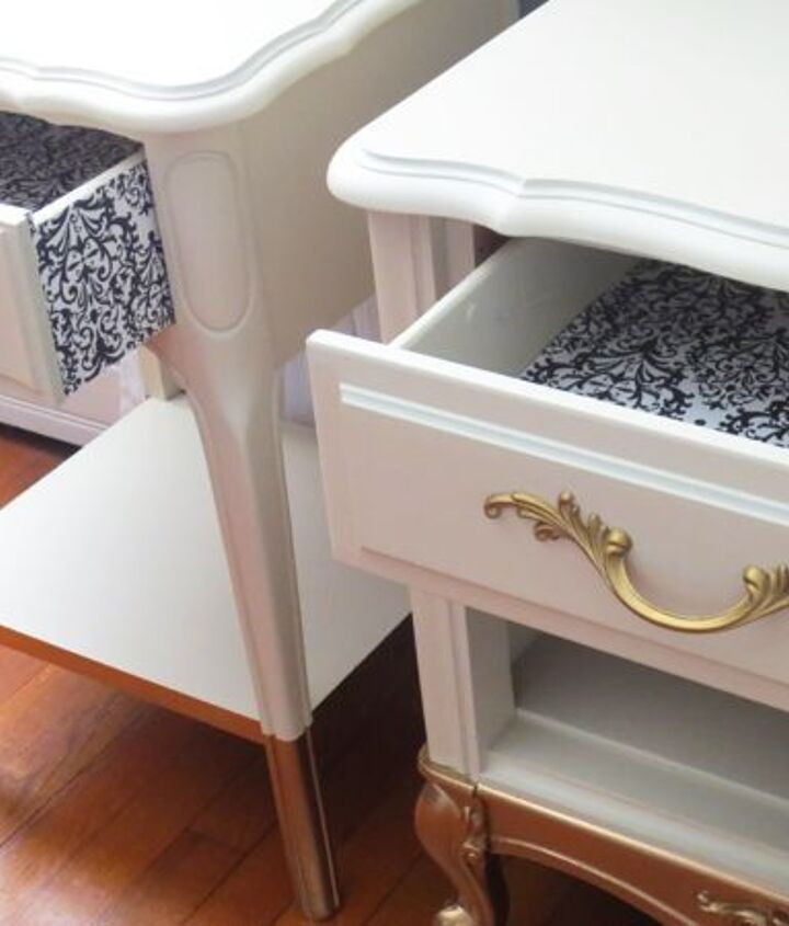 gold dipped legs on side tables, home decor, how to, painted furniture