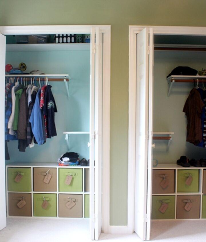 organizing kids clothes in closet, bedroom ideas, closet, organizing