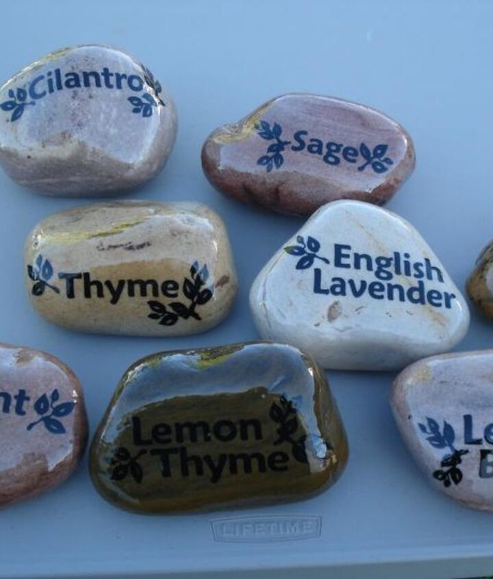 diy herb garden rock markers, container gardening, crafts, gardening, outdoor living, repurposing upcycling