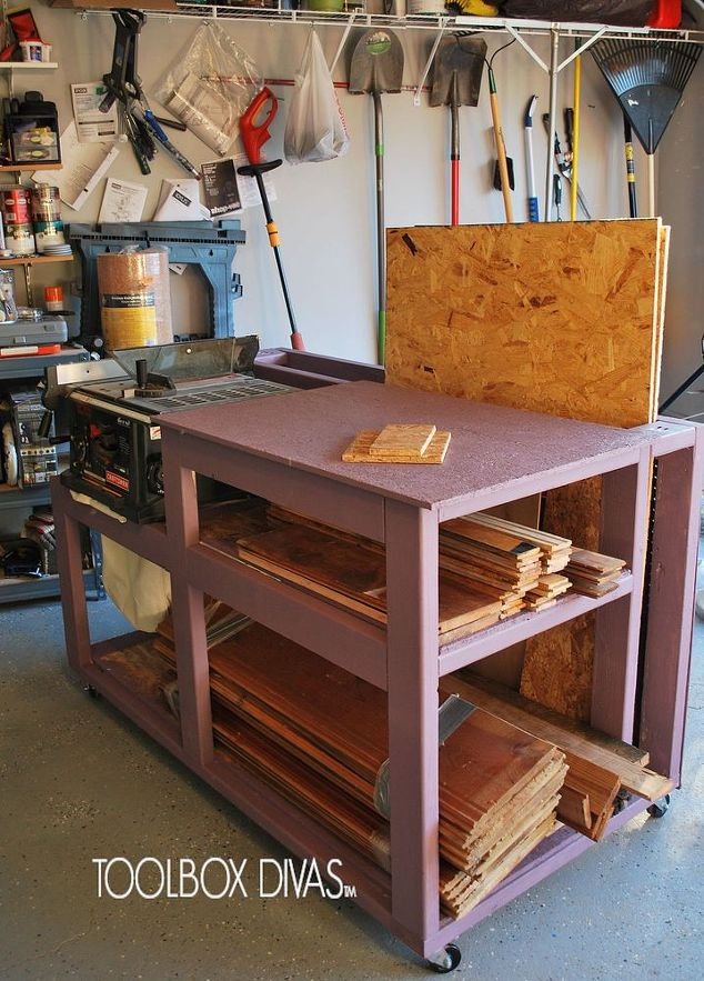 table saw workbench with wood storage painted furniture storage ideas woodworking projects - Workbench Design Ideas