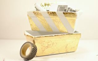diy gold leaf desk accessories, crafts, home office, organizing