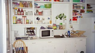 How to Cover Open Kitchen Shelves Above Cabinets | Hometalk