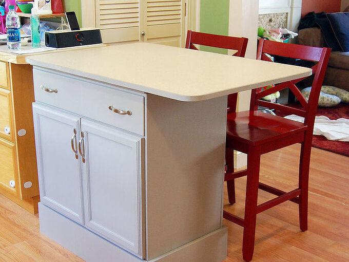 repurposed dresser into custom kitchen island, kitchen design, kitchen island, painted furniture, repurposing upcycling