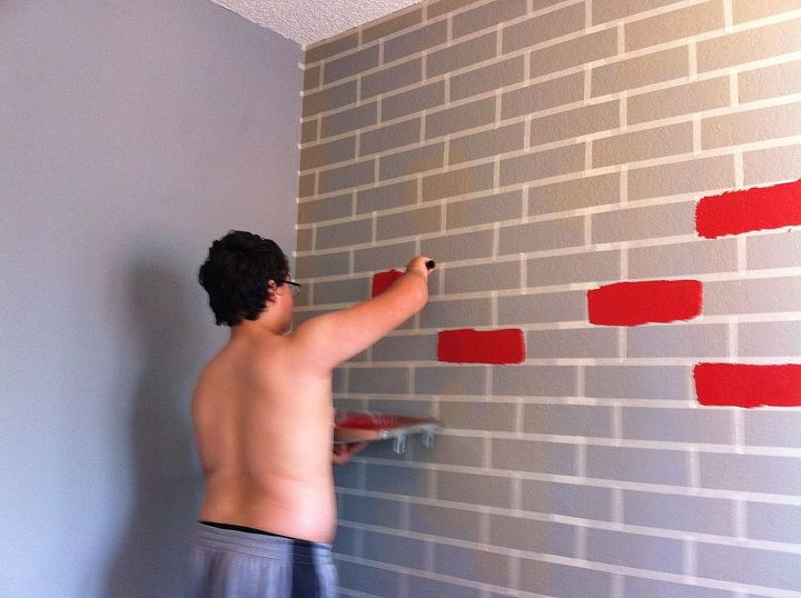 how to make a faux brick wall using paint, bedroom ideas, how to, painting, wall decor