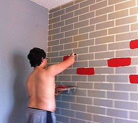 How To Make A Faux Brick Wall Using Paint, Bedroom Ideas, How To,