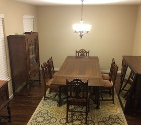 antique dining room sets.  no idea how to decorate this room I want try add a modern cont flair it so that doesn t feel like my grandmother s house What can do How modernize antique dining Hometalk