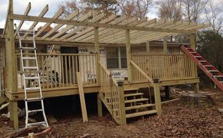 replacing concrete porch to wood, outdoor living, porches, woodworking projects