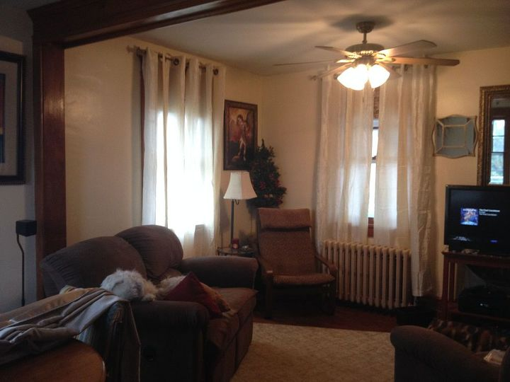 q window treatment decor ideas, home decor, living room ideas, window treatments, Ivory color semishear Hemmed