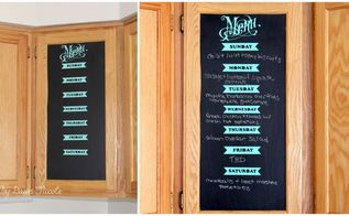 diy renter friendly chalkboard menu cabinet, chalkboard paint, crafts, how to, kitchen cabinets, kitchen design