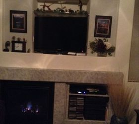 Mine is just like yours. Have all components and stereo in bottom right with shelves I put in. & Huge mantle alcove- help! | Hometalk