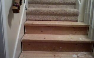 q staining wood stairs after carpet removal, flooring, how to, stairs, woodworking projects