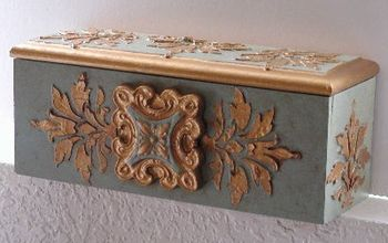 A Simple Thrift Store Box Looks High End With Stenciling and Plaster