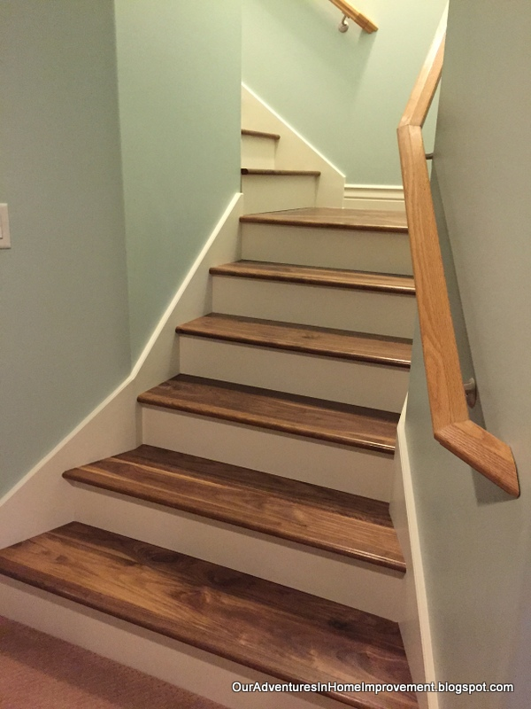 new walnut stained stairs for the new year, painting, stairs, woodworking projects