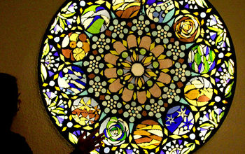Up-cycle Old Glass Table Top to Stained Glass Mosaic Wall Light