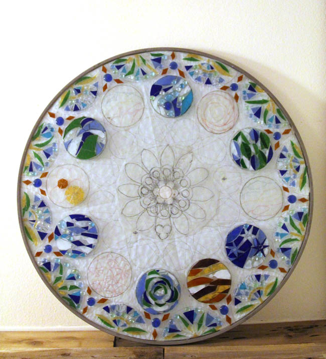 up cycle old glass table top to stained glass mosaic wall light, crafts, diy, lighting, repurposing upcycling, wall decor