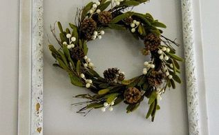 framed winter wreath, crafts, repurposing upcycling, wreaths