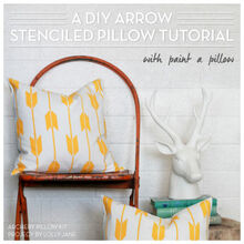 a diy arrow stenciled pillow tutorial, crafts, how to, reupholster