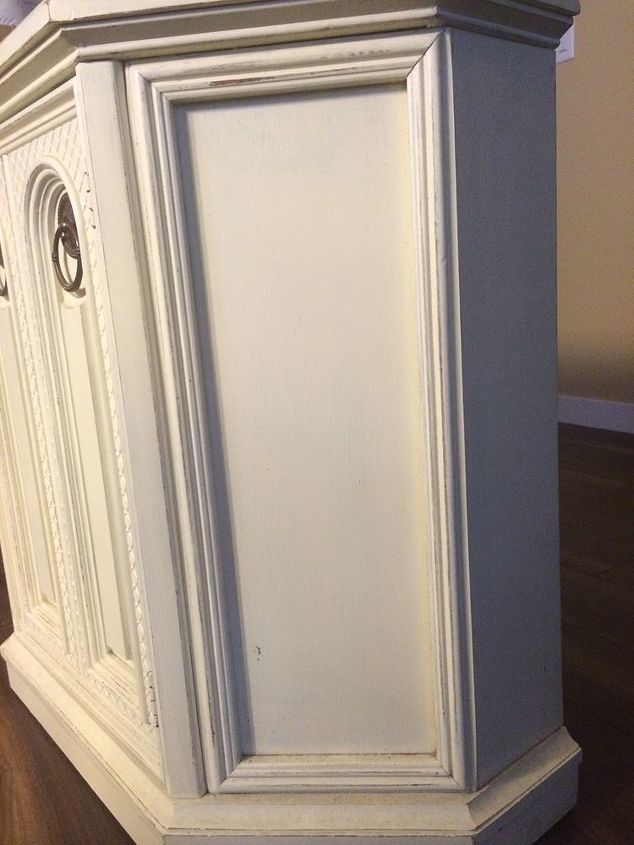 q color ideas for distressing funky tv stand, chalk paint, Side panel
