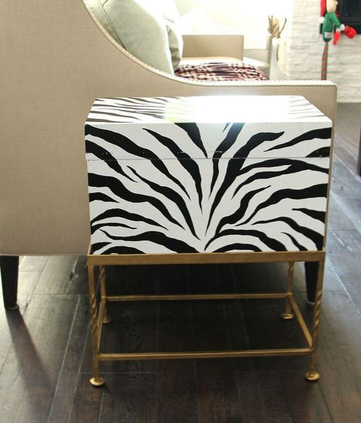 painted zebra print box and gold wax, garages