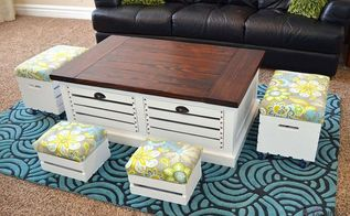 coffee table with crate storage drawers and stools, home decor, organizing, painted furniture, storage ideas, woodworking projects