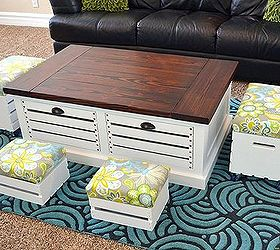 Coffee Table With Crate Storage Drawers And Stools, Home Decor, Organizing,  Painted Furniture