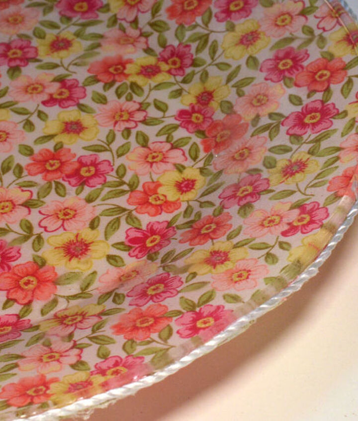 diy footed floral plate, crafts, decoupage, how to, repurposing upcycling