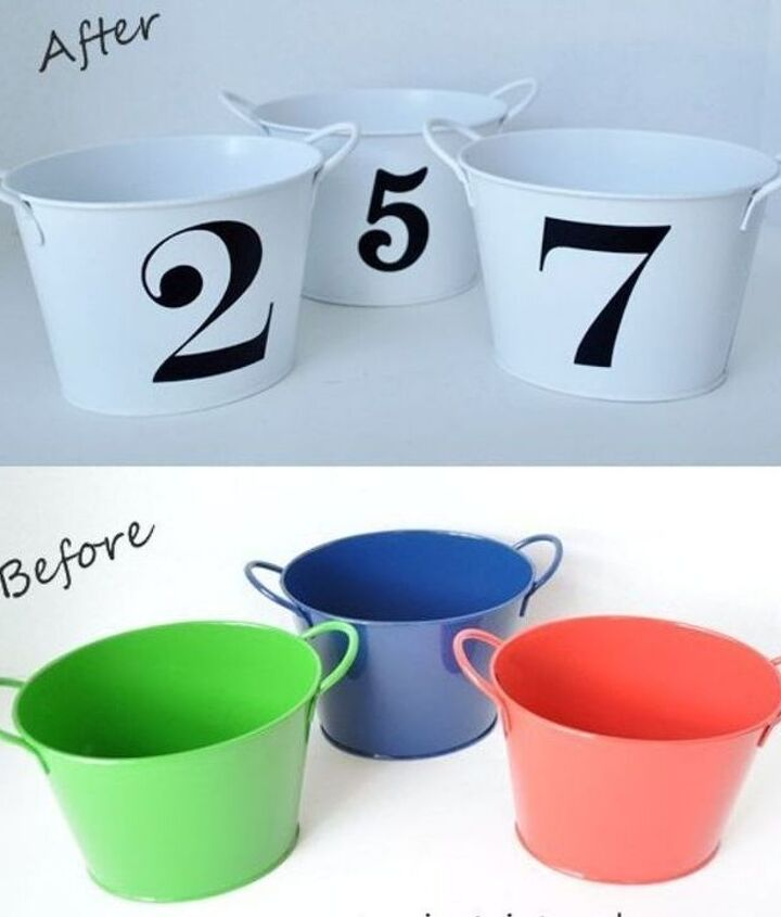 dollar store buckets to chic decor, crafts, repurposing upcycling